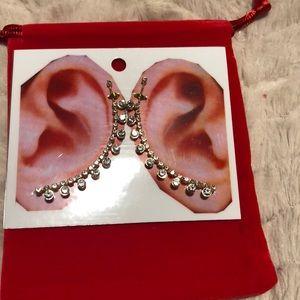 New Gold Diamond Fashion S/M Round Stones Ear Pins